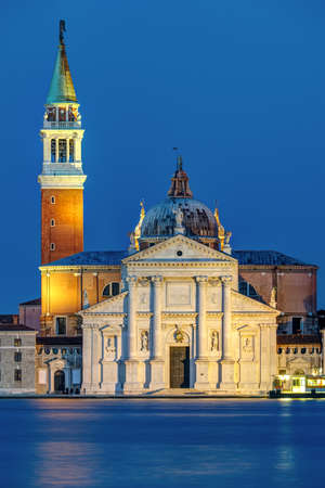 The San Giorgio Maggiore church in Venice, Italy, at night