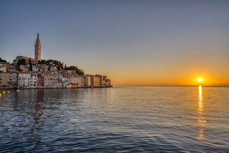 The beautiful old town of Rovinj in Croatia before sunset Imagens