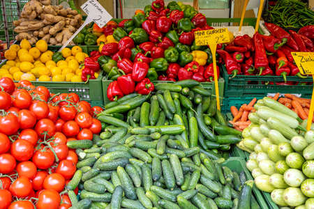 Colorful market stall with fresh vegetables for sale Stockfoto