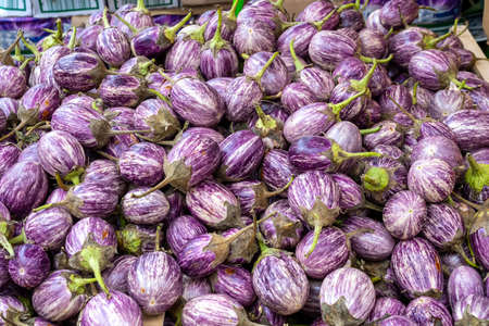 Ripe eggplant for sale at a market in Venice, Italy