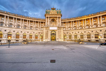 Part of the Hofburg and the Heldenplatz in Vienna at dusk