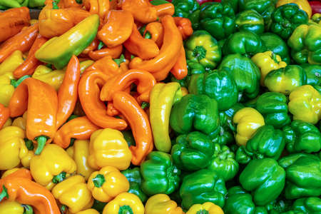 Colorful choice of peppers for sale at a market