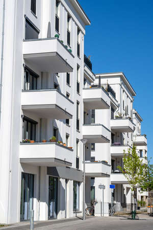 Modern white apartment houses in Berlin, Germany