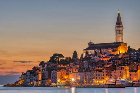 View to the beautiful old town of Rovinj in Croatia after sunset