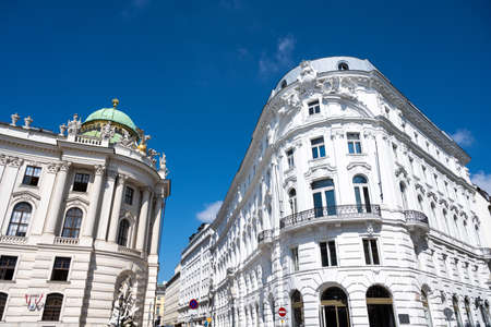 Beautiful renovated old buildings seen in the heart of Vienna, Austria Imagens