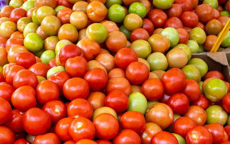 Green and red tomatoes for sale at a market