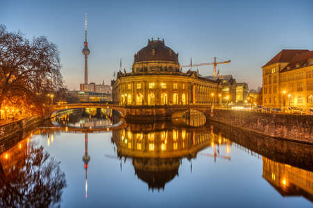 The Bode Museum and the Television Tower in Berlin on a clear sky morning Editorial
