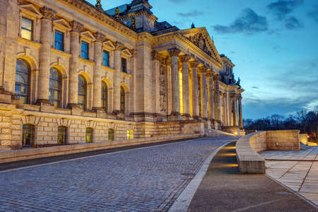 The entrance of the famous Reichstag in Berlin at dawn