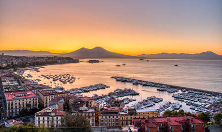The gulf of Naples and Mount Vesuvius before sunrise