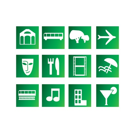 Set of entertainment and travel icons Vector