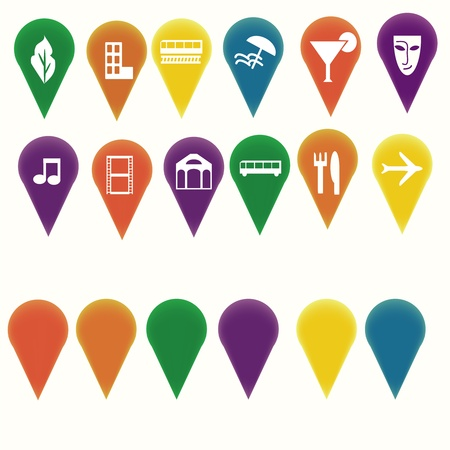 Map markers with travel entertainment symbols