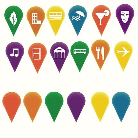 Marcadores de mapa con símbolos de entretenimiento de viaje