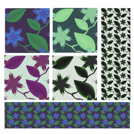Flowers patterns set Stock Vector - 13105604