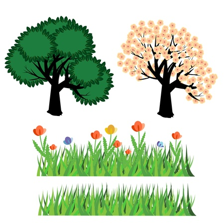 Seasonal trees and grass Stock Vector - 13105614