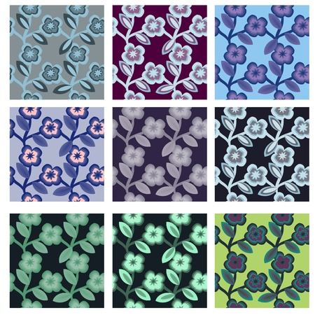 Pack of 9 variants seamless floral stems patterns Vector
