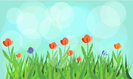 Flowering meadow with blue background Vector