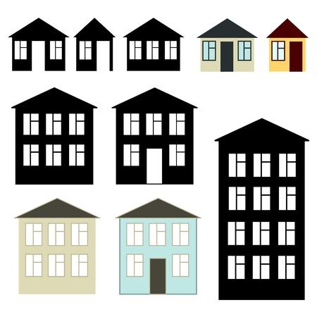 Simple buildings set Illustration