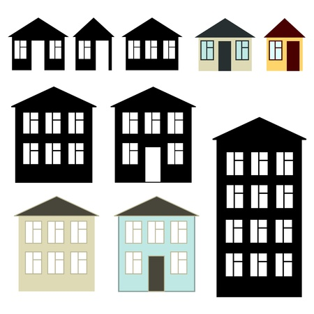 Simple buildings set Ilustração