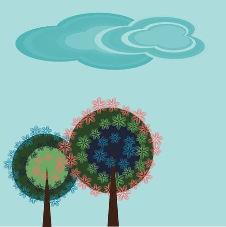 simple sky: Decorative background with trees and clouds Illustration
