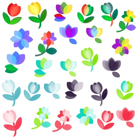 Multicolored flowers logo set