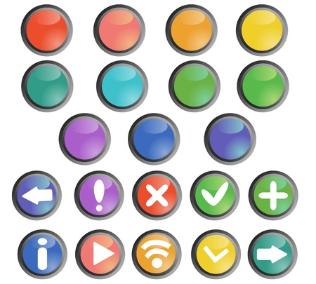 Round buttons set with basic web icons Stock Vector - 13296006