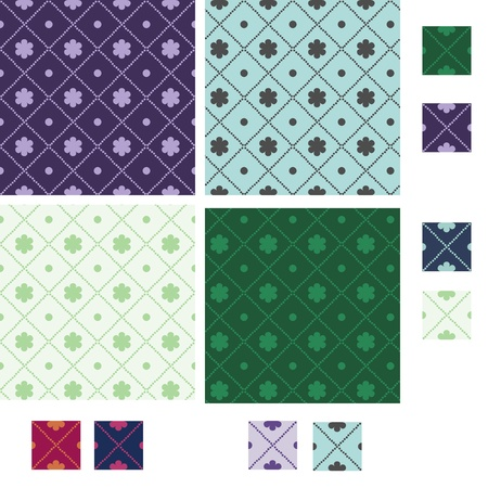Diamond seamless patterns with lines of small circles Vector
