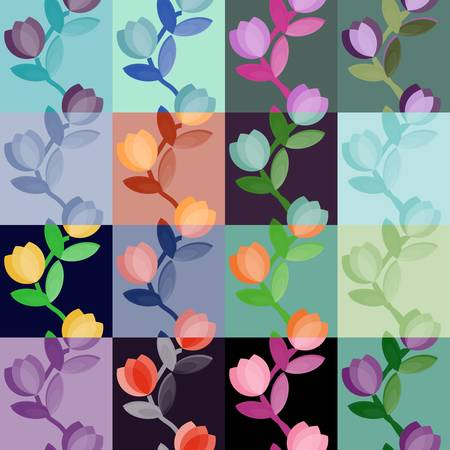 Set of multicolored floral seamless patterns Vector