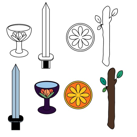 Tarot suit symbols - silhouette and colored Vector
