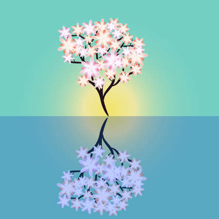 Flowering tree reflecting and water landscape Vector