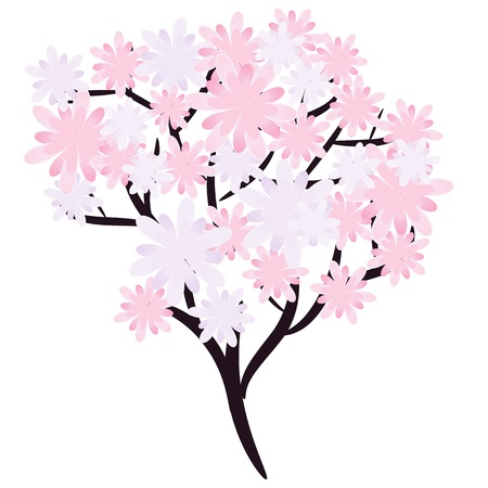 Flowering spring tree illustration Vector