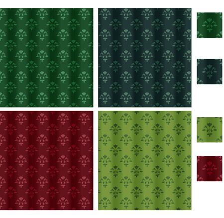 Four curtain backgrounds with floral pattern Vector