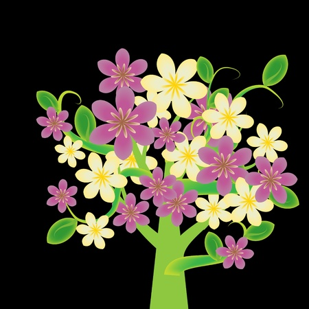Fantasy flowering tree with pink and cream flowers Vector