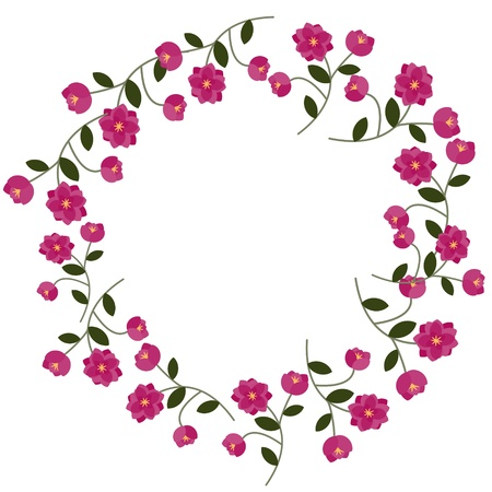 Floral frame with decorative pink flowers