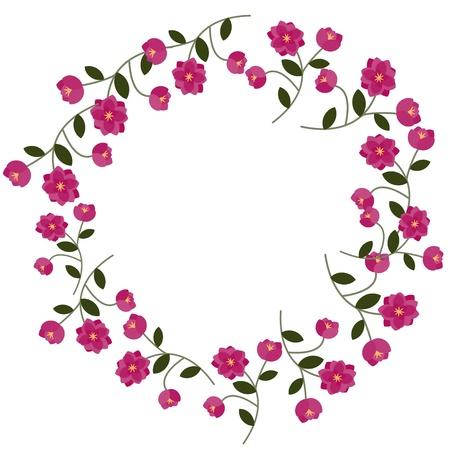 Marco floral con decorativas flores de color rosa