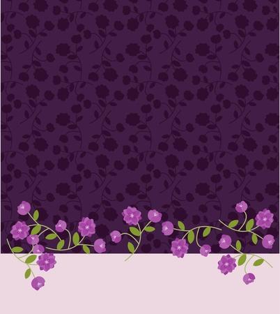 Invitaci�n plantilla con patr�n de flores de color p�rpura Vectores