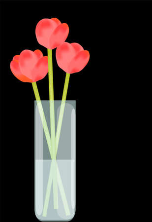 Red flowers in vase with water