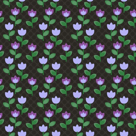 Floral seamless texture with grid pattern Vector