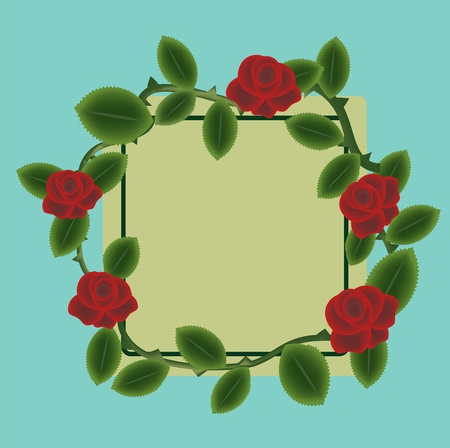 Red roses frame with label Illustration