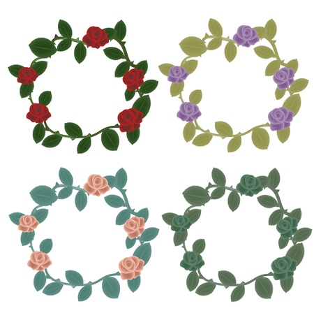 Roses wreaths decorative set Vector