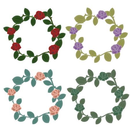 decorations wreaths: Roses wreaths decorative set Illustration