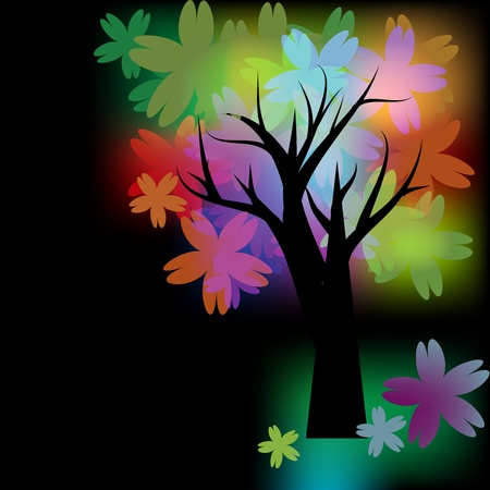 Glowing tree with multicolored flowers Vector