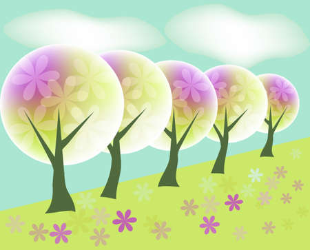 Landscape background with abstract trees and flowers Stock Vector - 13523527