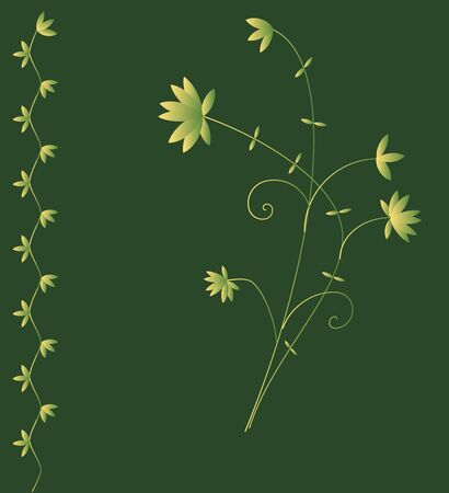 Dark green background with floral decoration Vector