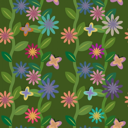 Seamless flowering field with butterflies Vector