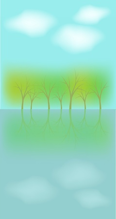 reflected: Trees reflecting in water