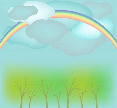 Rainbow,   1089;louds and trees landscape Stock Vector - 13696282