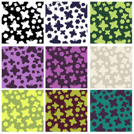 Set of seamless butterflies and flowers patterns Stock Vector - 13842312