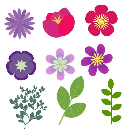 violet red: Decorative floral elements vector set