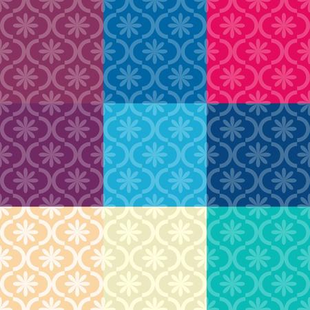Juego de colores diferentes patrones de costura Vectores