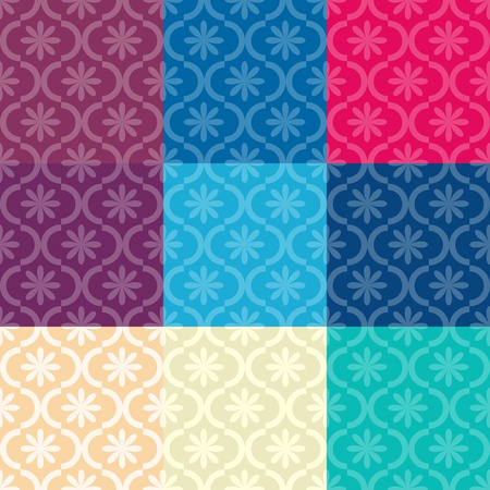 Set of seamless pattern different colors